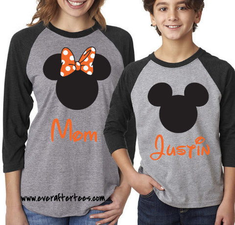 Raglan Mickey & Minnie Mouse Ears Tshirts . Matching Halloween Disney Family Vacation Raglan T-shirts