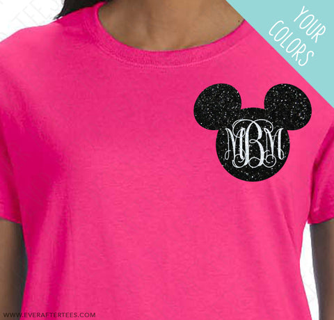 Script Monogram Mickey Chest Logo Tee . Matching Disney Family Vacation t-shirt