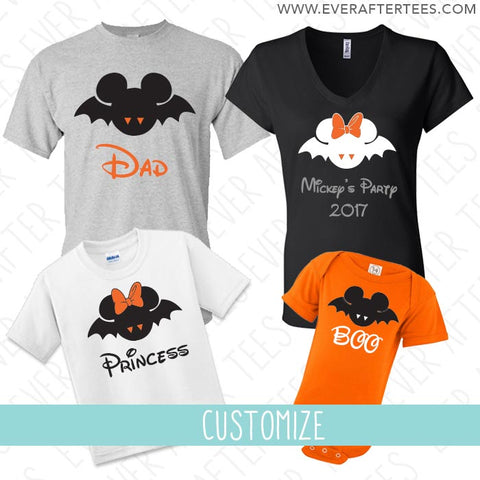 Bat Disney Inspired Family Tees . Mickey and Minnie Bat t-shirts . MNSSHP shirt . Disney Inspired Family Vacation matching t-shirts .
