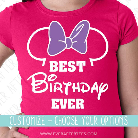 Mouse Ears Best Birthday Ever T-shirt | Show off to Minnie with Matching Birthday in Disney Shirts | Group Birthday Disney Squad Tank Top | Customize