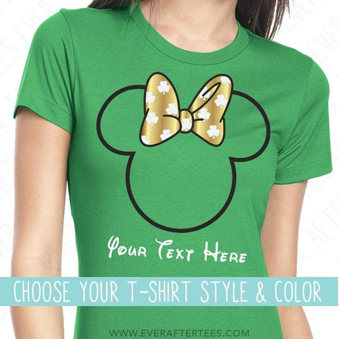 CUSTOMIZE - St. Patricks Mouse Ears w/ a Shamrock Bow . Matching Disney T-shirts for the Whole Family .