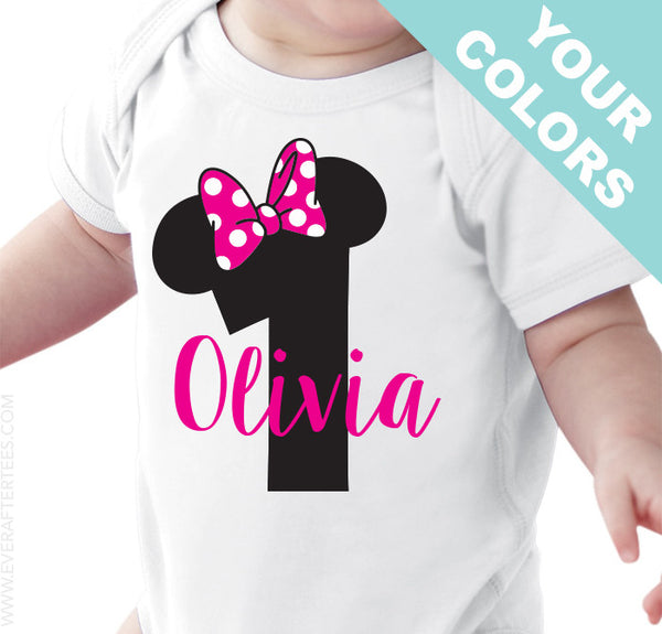 Minnie First Birthday Disney Shirt . Mickey First Birthday Shirt . First Birthday Shirt .