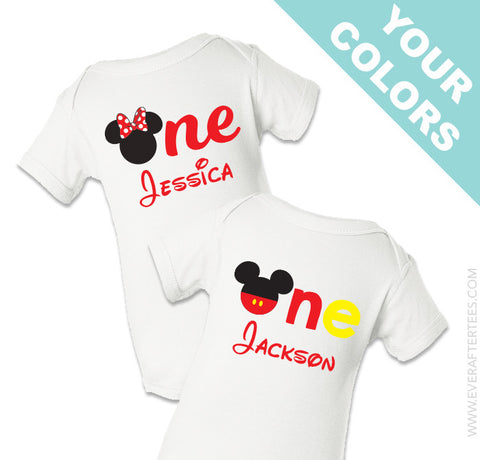 First Birthday Disney Shirt . Mickey First Birthday Shirt . Minnie First Birthday Shirt .