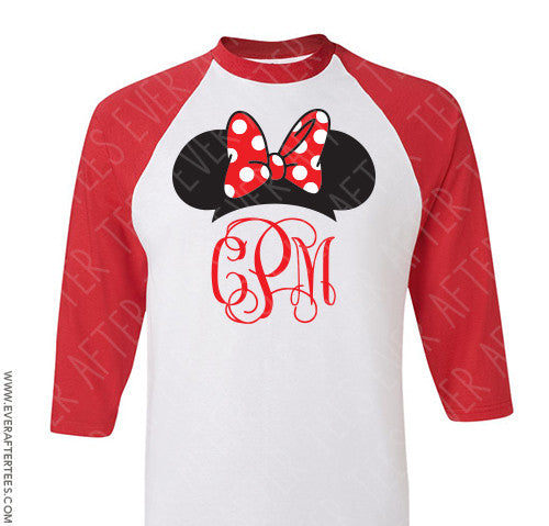 Red Raglan Script Monogram Disney Family Vacation Shirt