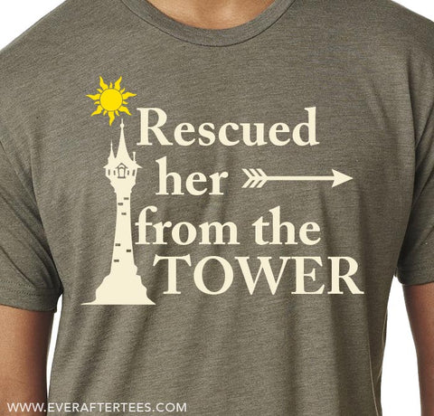 Rescued Her From the Tower T-shirt . Couples Shirts for Disney .