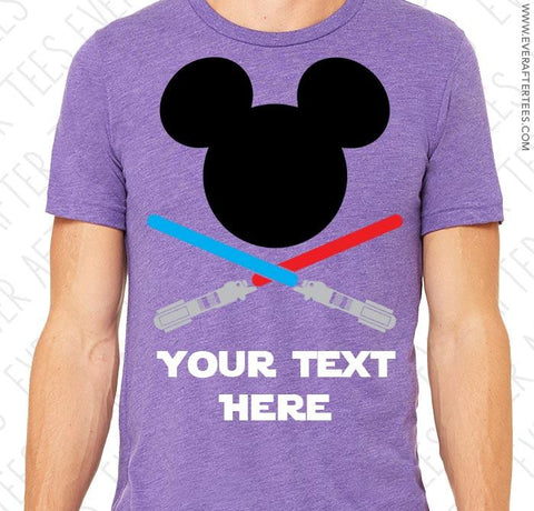 CUSTOMIZE Light Saber Mouse Tees - Star Wars Land Matching Family Mickey Mouse Ears T-shirts