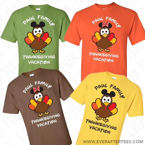 Disney Family Turkey Mouse Hats T-shirts . Disney Family Vacation on Thanksgiving Shirts . Thanksgiving in Disney Tees.