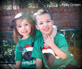 Kelly Green Disney Family Santa Mickey T-shirts . Disney Family Vacation Christmas Shirts . Christmas in Disney Tees.