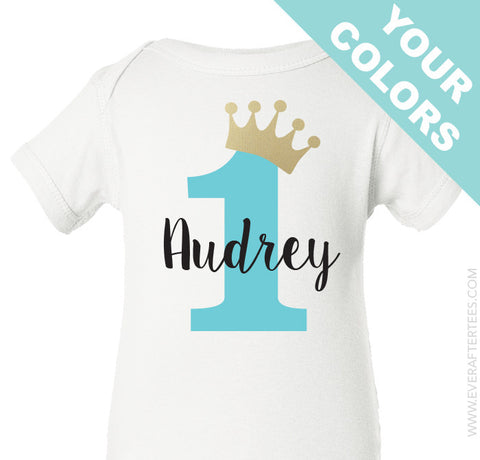 First Birthday Shirt . Princess First Birthday Shirt . Girls Birthday Shirt