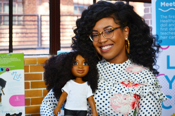 Yelitsa Jean-Charles with Black DOll Healthy Roots Doll Zoe