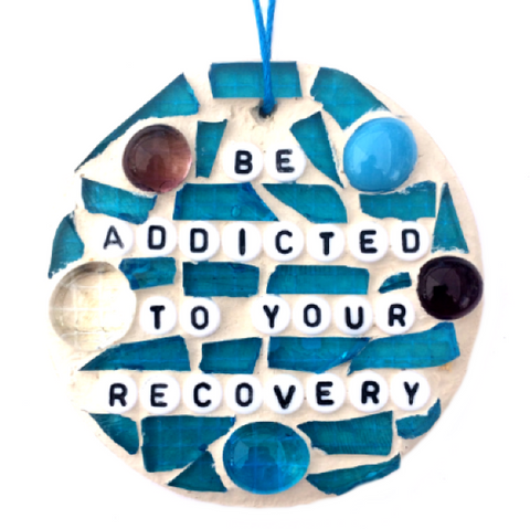 RECOVERY INSPIRATIONAL ART Stained Glass Mosaic Ornaments Affirmations. Sponsor Sponsee Gifts.