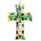 HAWAII MOSAIC CROSS Wall Ornament. Stained Glass Hangings. Aloha. Kona. Made in Hawaii. Christmas Ornament.