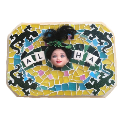 HAWAII ALOHA MOSAIC. Stained Glass. Made in Hawaii. Barbie Dolls and Geckos Mixed Media. Birthday Gift. Mother's Day Gift. Housewarming Gift