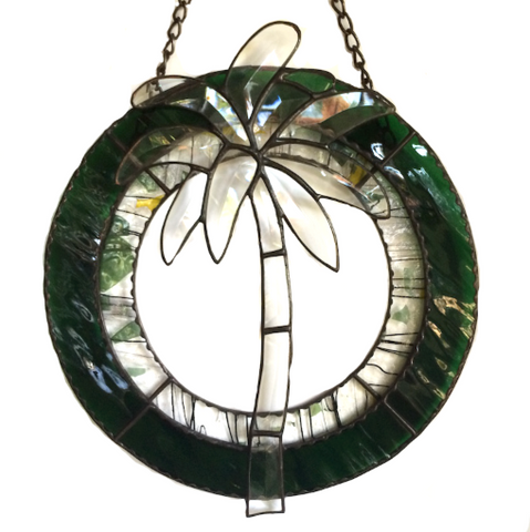 HAWAII STAINED GLASS Panel Hanging. Beveled Palm Tree. Prisms Rainbows. Made in Hawaii.