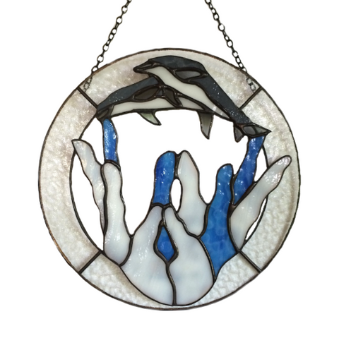 DOLPHINS STAINED GLASS Panel. Healing Hands. Hawaii Art. Hawaii Gifts. Made in Hawaii.