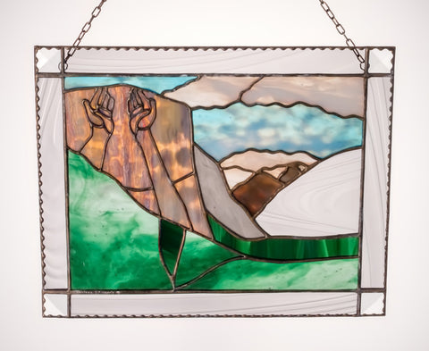 EL CAPITAN YOSEMITE National Park. Stained Glass Inspirational Panel. Healing Hands.