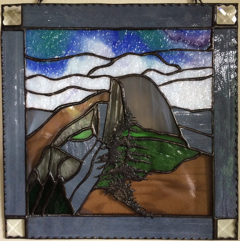 Half Dome Sunset Sunrise Yosemite National Park Inspirational Stained Glass Panel Deesigns by Harris