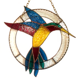 STAINED GLASS HUMMINGBIRD Hanging Sun Catcher. Bird Lover Gifts.