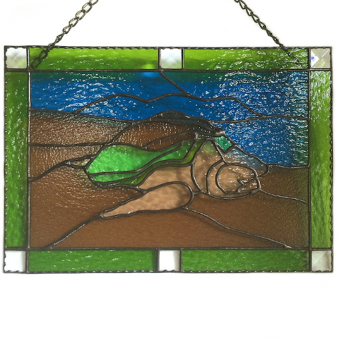 STAINED GLASS TURTLE Honu Hawaii. Stained Glass Panel. Black Sands Beach. Big Island. Made in Hawaii.