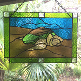 STAINED GLASS TURTLE Honu Hawaii. Stained Glass Panel. Black Sands Beach. Big Island. Made in Hawaii. Healing Hands. Housewarming Gift.