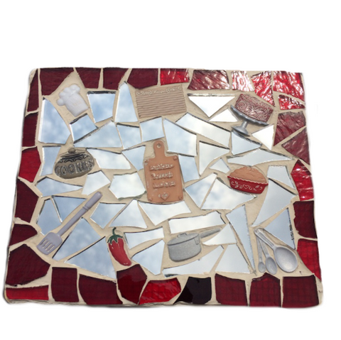 CHEF COOKS MOSAICS. Kitchen Lovers. Mixed Media. Stained Glass.