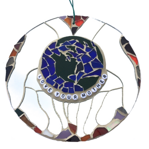 SAVE THE PLANET Mother Earth. Inspirational Motivational Quotes Affirmations Stained Glass Mosaic.