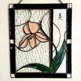 "Orchid Bevel Stained Glass Panel ""Beauty"" Chinese Symbol Deesigns by Harris Made in Hawaii"
