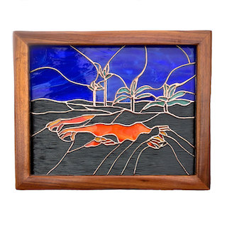 MADAME PELE'S DANCE. Stained Glass Panel. Made in Hawaii. Lava and Volcano.