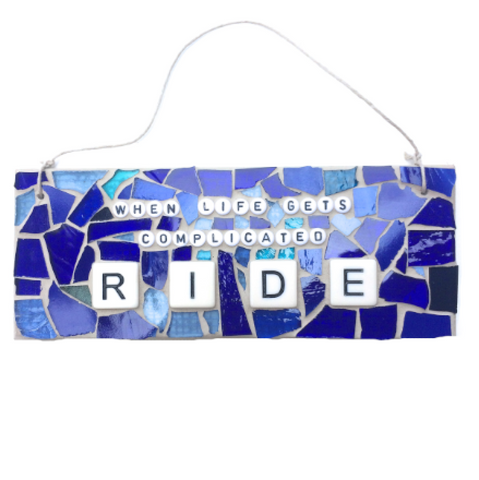 MOTORCYCLE BIKE LOVERS Funny Gag Gifts. Stained Glass Mosaic. Quotes Affirmations. Feel Good Art. Birthday Gifts. Gifts for Him.
