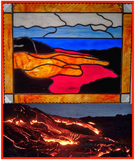 HAWAII VOLCANO PANEL. Stained Glass. Madam Pele Flowing Lava. Healing Hand. Made in Hawaii. Big Island. Housewarming Birthday Anniversary.