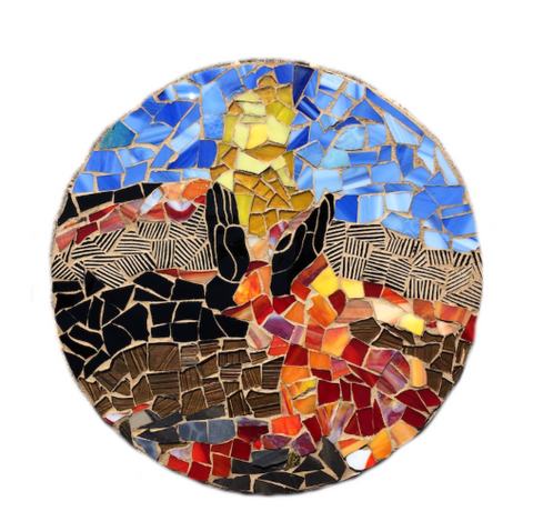 HAWAII WALL ART. Pele Volcano Erupting. Stained Glass Mosaic. Inspirational. Made in Hawaii. Lava. Healing Hands.