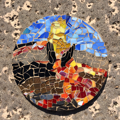 Volcano Erupting Stained Glass Pele's Hands Inspirational Mosaic Made in Hawaii