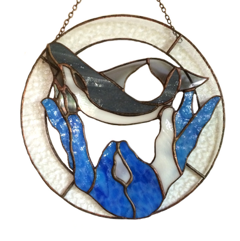 WHALES STAINED GLASS Panel. Inspirational Hanging. Healing Hands. Made in Hawaii.