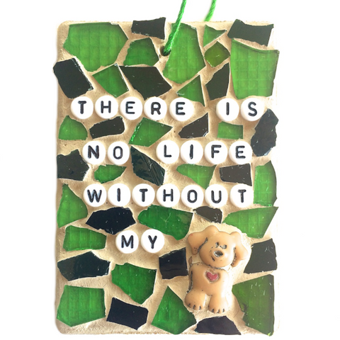 PET  DOG LOVERS. Stained Glass Mosaic Ornaments. Inspirational Quotes Affirmations.