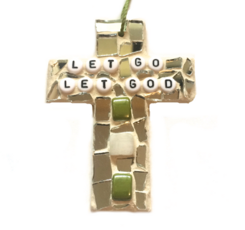 INSPIRATIONAL MOSAIC CROSS Ornament Stained Glass Wall Hangings. Let Go Let God. Thankful. Strength. Well-Being. Self-Love. Meditation. Yoga