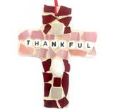 INSPIRATIONAL MOSAIC CROSS Ornament. Stained Glass Wall Hangings. Thankful.