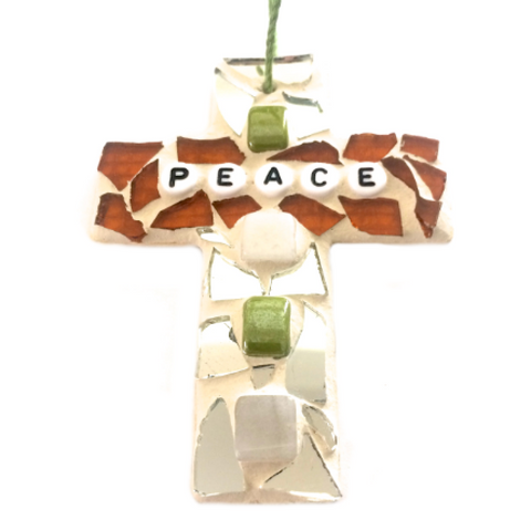 INSPIRATIONAL MOSAIC CROSS Ornament. Stained Glass Wall Hangings. Peace. Christmas Tree.