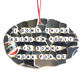 FUNNY GAG GIFTS. Sassy Snarky Adult-Humor. Stained Glass Mosaic Ornaments.