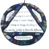 SERENITY PRAYER RECOVERY 12 Step Stained Glass Mosaic Mirror Triangle & Circle Sobriety