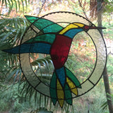 STAINED GLASS HUMMINGBIRD Hanging Sun Catcher. Birthday Gift. Anniversary Gift. Housewarming Gift. Bird Lover Gifts. Inspirational Gifts.