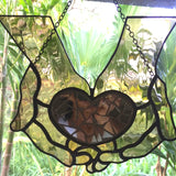 STAINED GLASS HEART Healing Hands. Inspirational Hanging Sun Catcher. Art with a Message of Hope. Self-Care. Self-Love. Self-Worth. Birthday