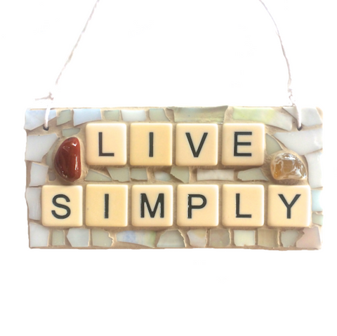 LIVE SIMPLY Inspirational MOSAIC. Motivational Quotes Affirmations Stained Glass.