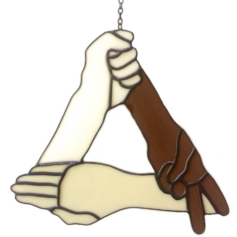 ROCK PAPER SCISSORS Stained Glass Hanging. Ro Sham Bo. Fun Art. Gag Gifts.