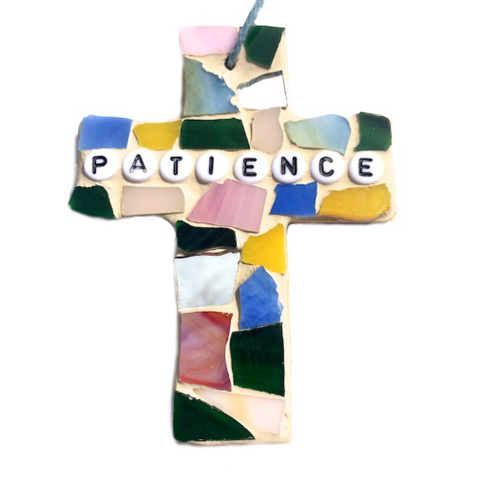 INSPIRATIONAL MOSAIC CROSS Ornament. Stained Glass Wall Hangings. Patience. Christmas Ornaments.