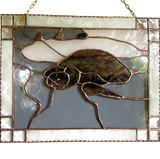 STAINED GLASS TURTLE Hawaiian Honu Panel. Made in Hawaii. Big Island Black Sands Beach.