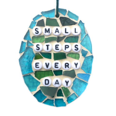 RECOVERY WELL-BEING Wall Art. Stained Glass Mosaic Ornaments. Motivational Inspirational Affirmations.