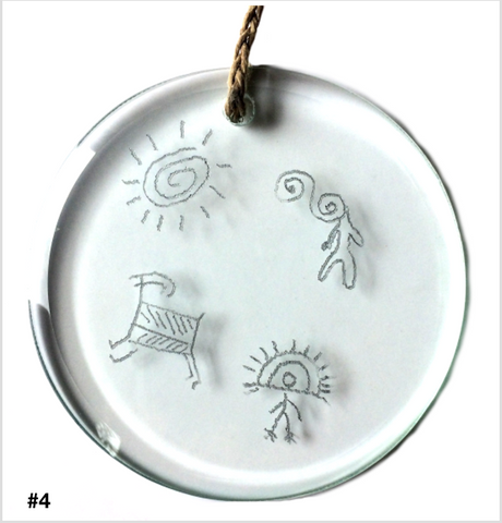 HAWAII PETROGLYPHS GLASS. Stained Glass Bevels. Made in Hawaii. Inspirational Hangings Ornaments Sun Catchers. Birthday Gifts.