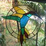 Hummingbird Stained Glass Hanging Suncatcher Made in Hawaii Deesigns by Harris Free Gift Wrap