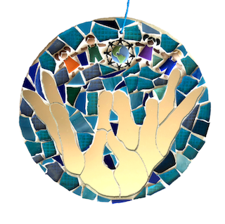 SAVE THE PLANET Mother Earth. Stained Glass Mosaic Wall Art. Healing Hands.