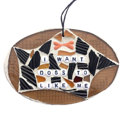 PET DOG LOVERS. Stained Glass Mosaic Ornaments. Inspirational Quotes Affirmations. Gag Gifts.